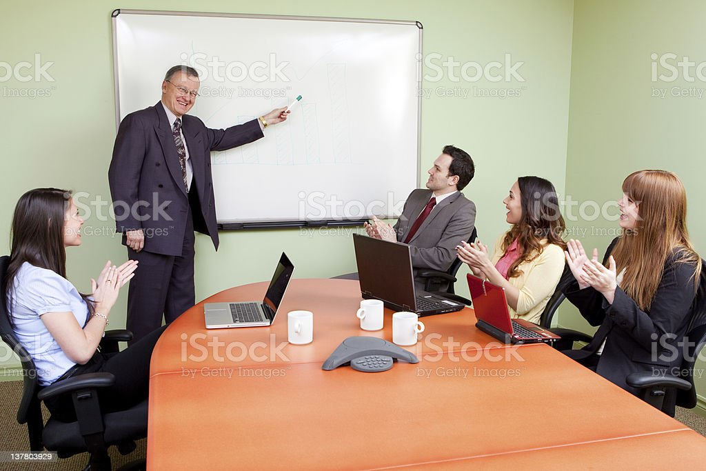 Motivated business team meeting royalty-free stock photo