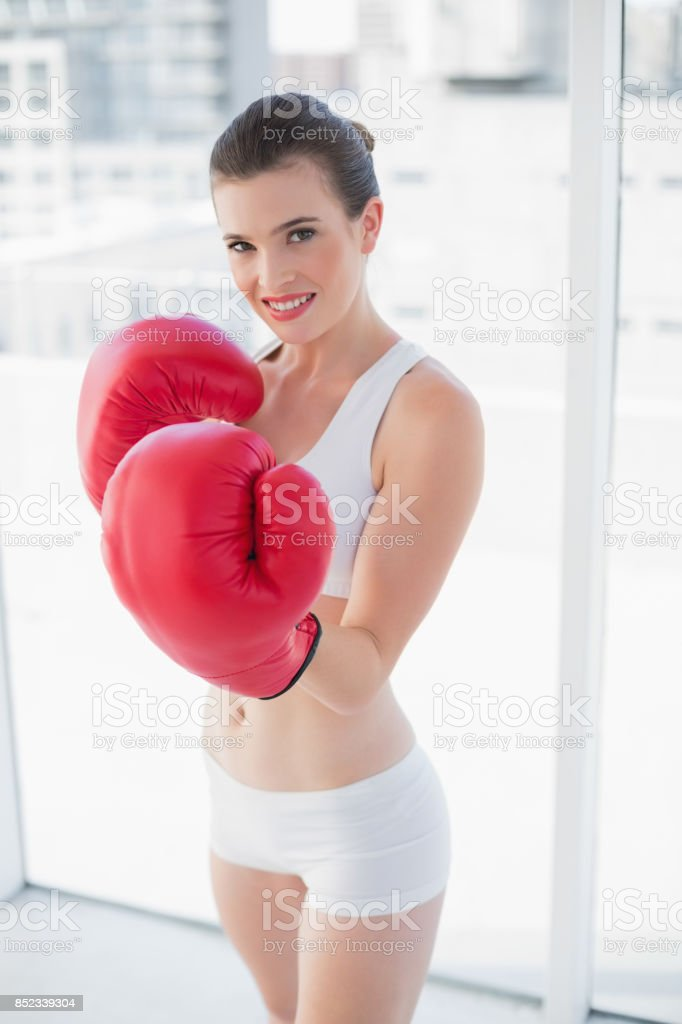 Motivated fit brown haired model in sportswear wearing boxing gloves stock photo
