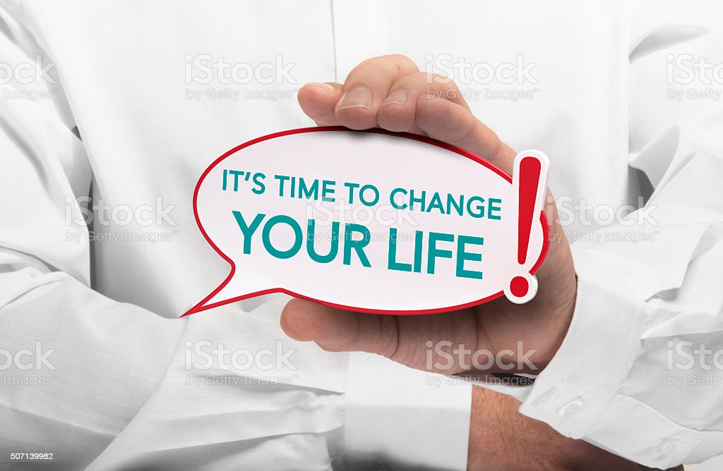 Image of a man hand holding speech bubble with the text it is time to...