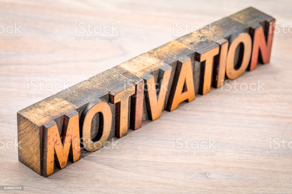 motivation word abstract in vintage wood type stock photo