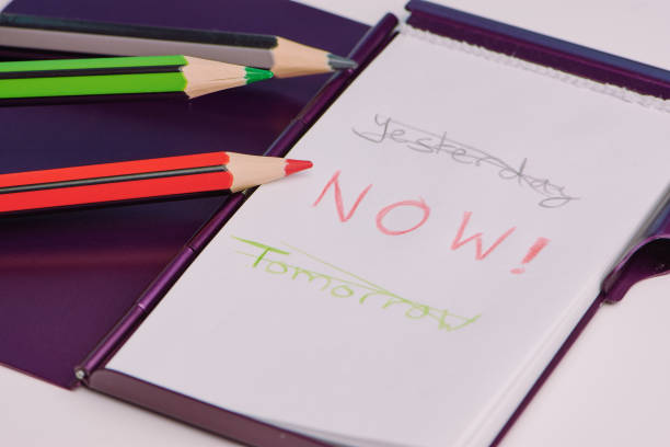 motivation words on a white notepad handwritten text with the words: yesterday, now and tomorrow on a white notepad as a concept to live in the moment taking the plunge stock pictures, royalty-free photos & images