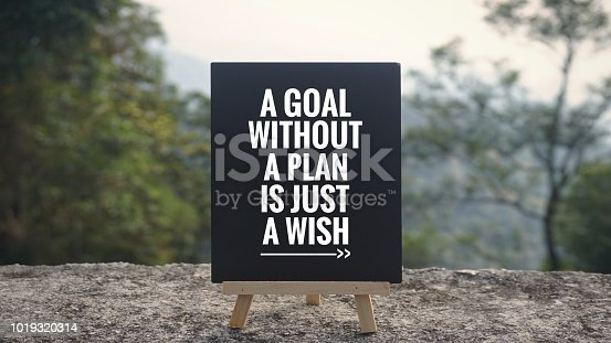 - 'A goal without a plan is just a wish' written on a blackboard. Blurred styled background.