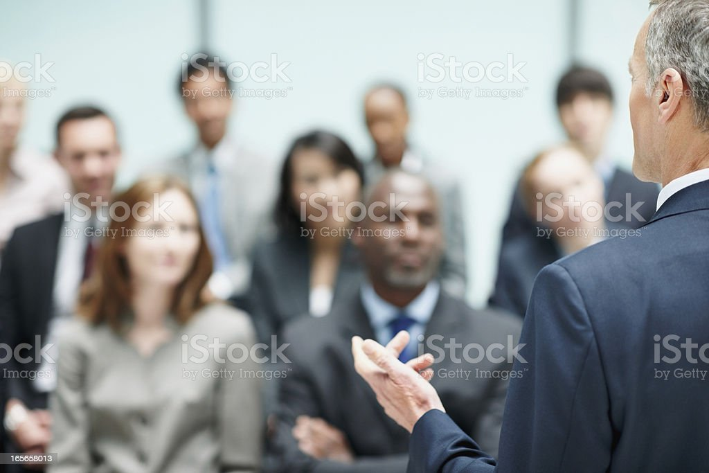 Motivational business speech royalty-free stock photo