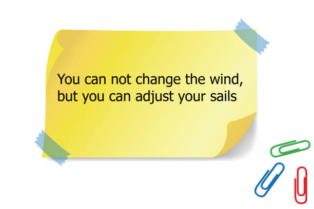 Motivational quote You can not change the wind but you can adjust your sails, stock photo