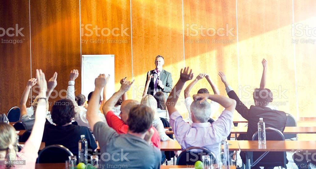 Motivational seminar stock photo