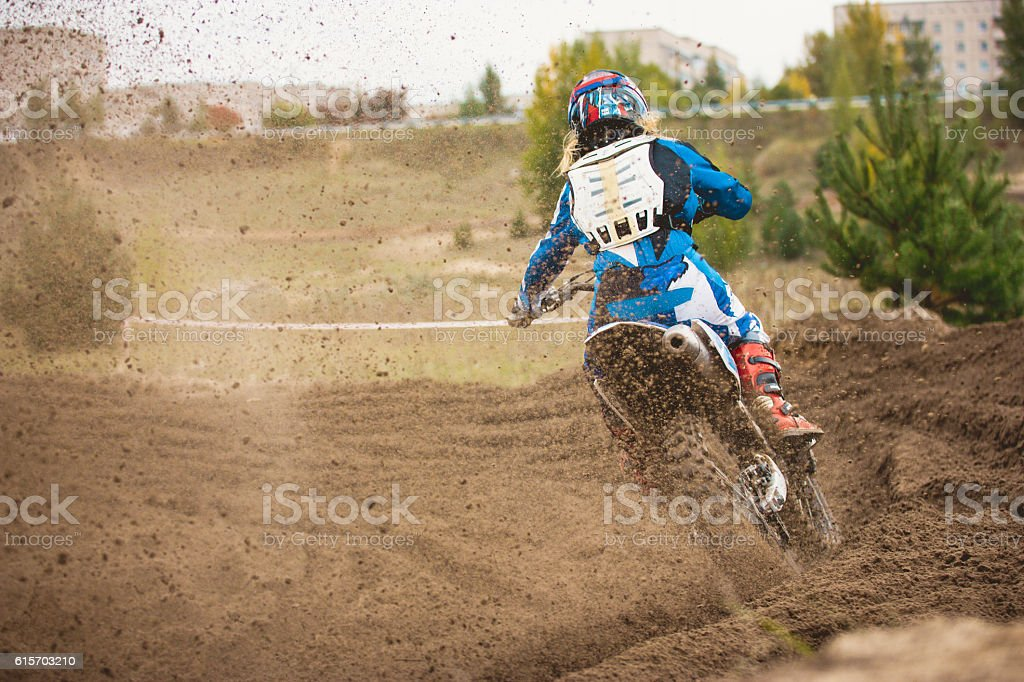 Moto cross - MX girl biker at race in Russia stock photo