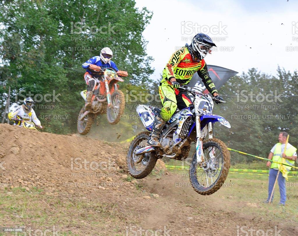 Motocross in Valdesoto, Spain. stock photo