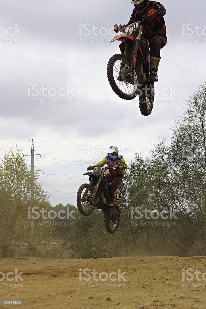 Motocross jumping royalty-free stock photo