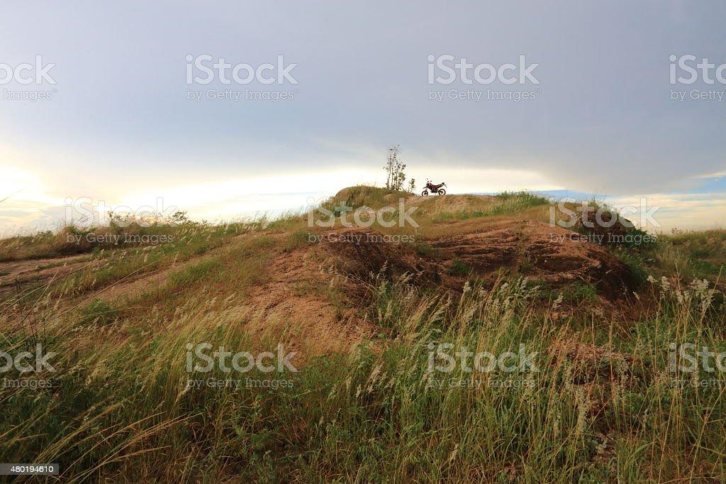 motocross on mountain stock photo