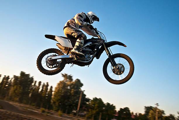 Motocross panning stock photo