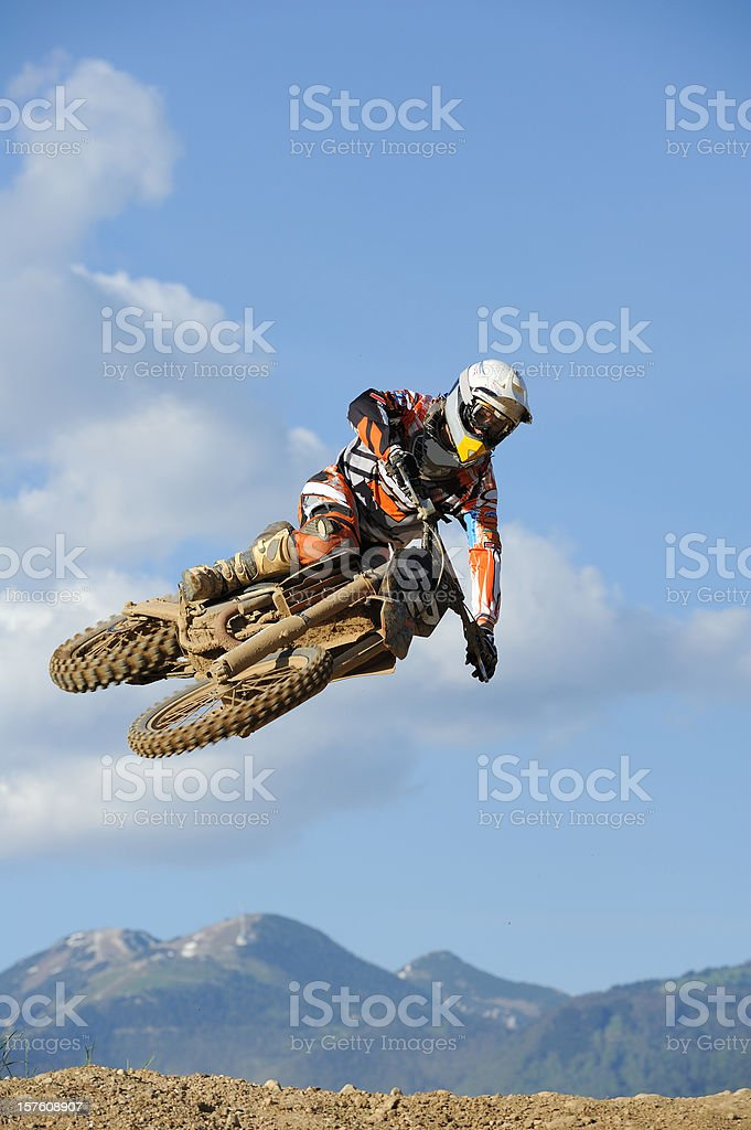 Motocross rider jumping royalty-free stock photo