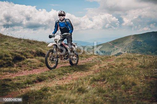 Motocross race in mountain range