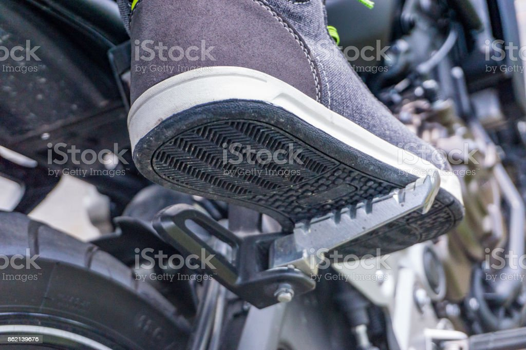 motocycle foot rest position stock photo