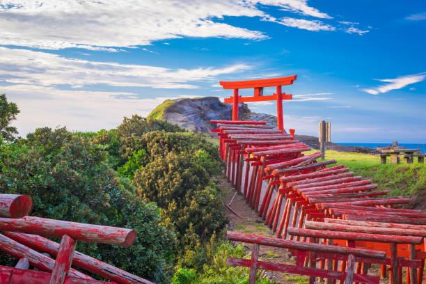 Motonosumi Inari Shrine Nagato, Japan - August 26, 2015: Motonosumi Inari Shrine on the Sanin Coast of Yamaguchi Prefecture, Japan. shrine stock pictures, royalty-free photos & images