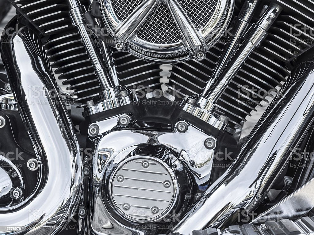 Motor bike detail - Engine block stock photo