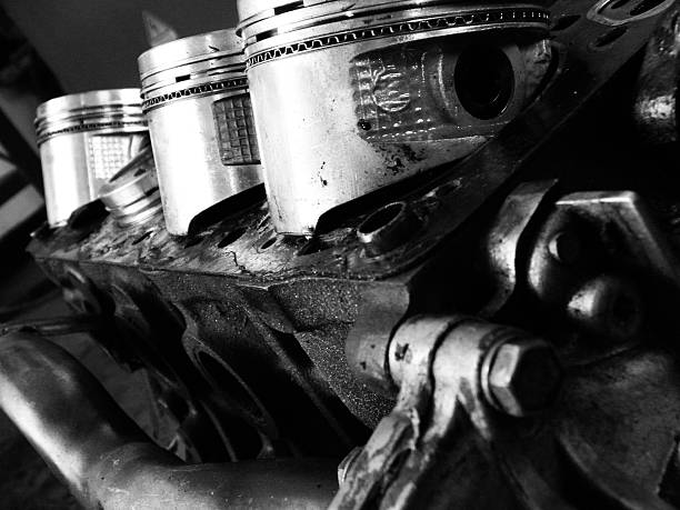 Motor Block and Pistons in Black and White