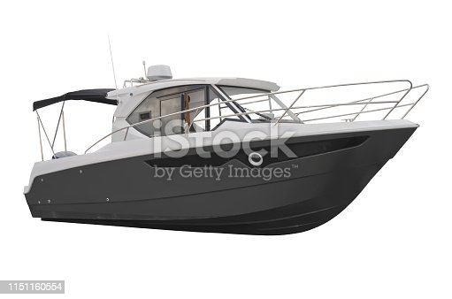 Motor boat for the rest isolated on a white background