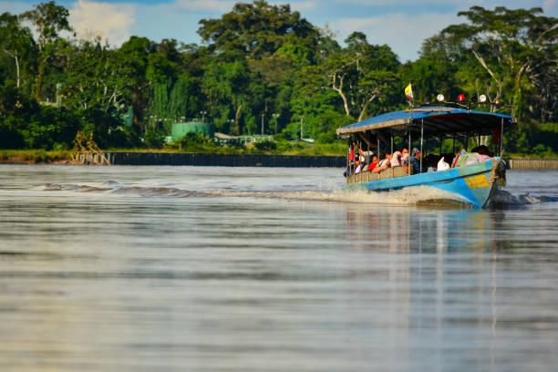 Motor Boat on the amazon river stock photo