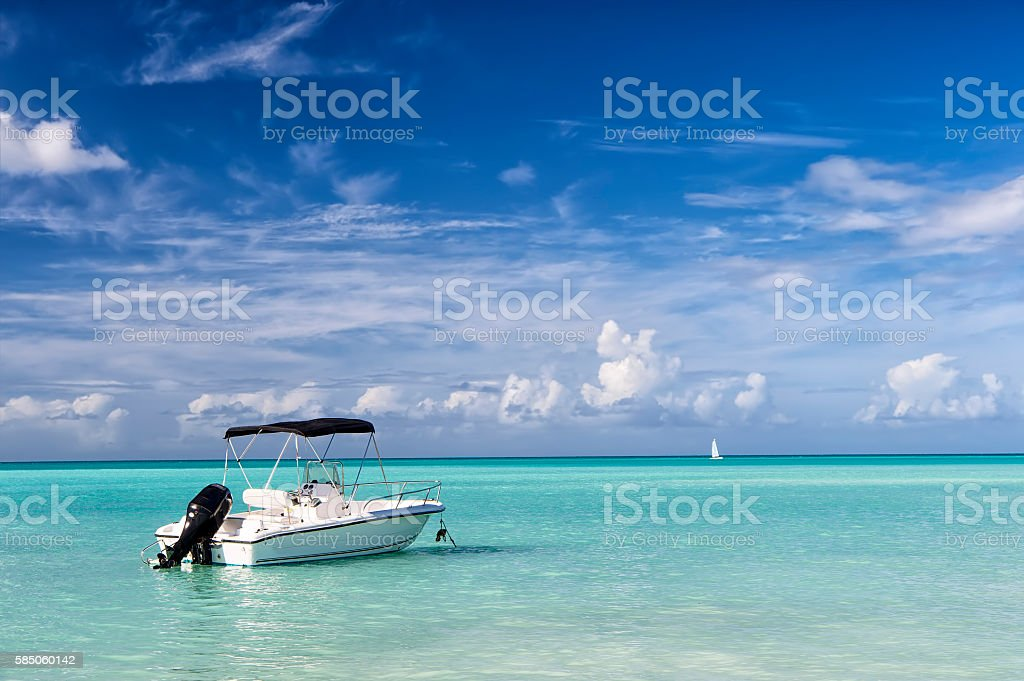 Motor boat on water stock photo