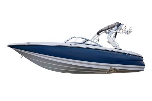 New modern motor boat.Isolated over white background