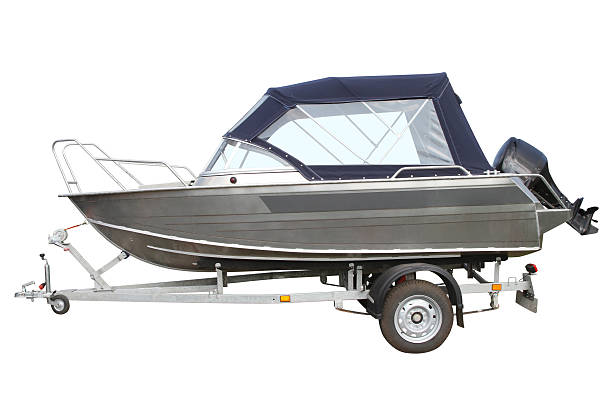 Motor boat with awning stock photo