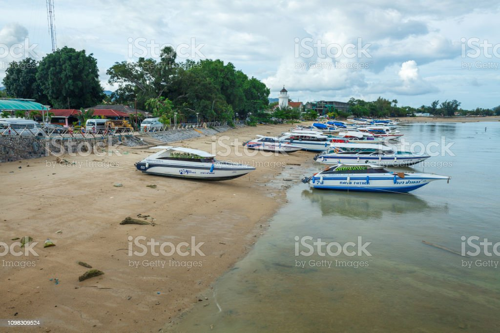motor boats and yachts on the waterside