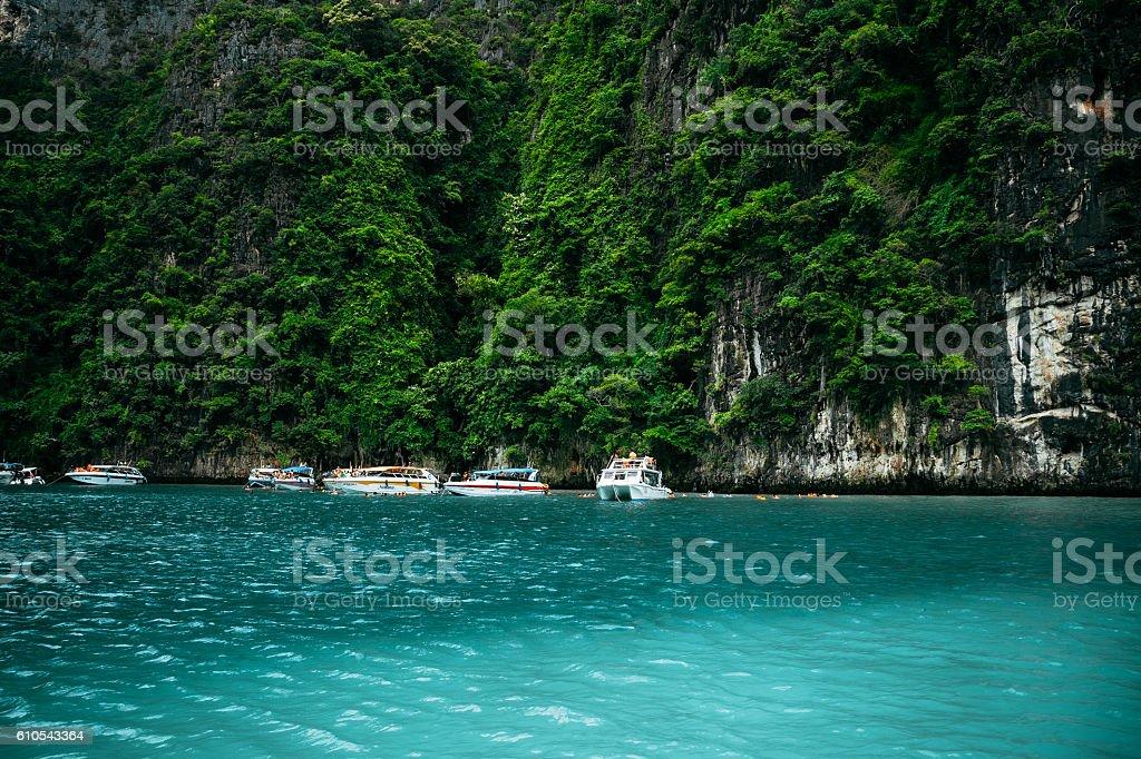 Motor boats in Maya Bay, Thailand stock photo