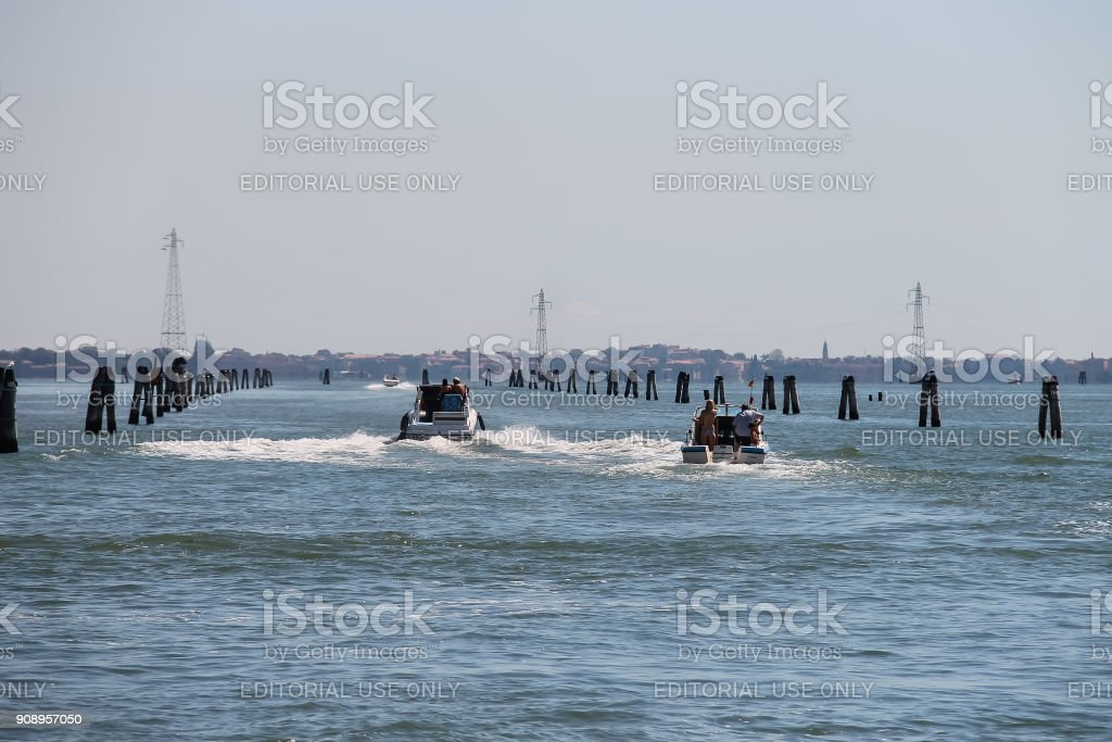 Motor boats with tourists in the Adriatic Sea near Vienice, Italy stock photo