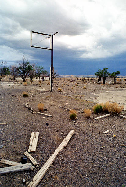 Motor Court Ruins Cubero New Mexico stock photo