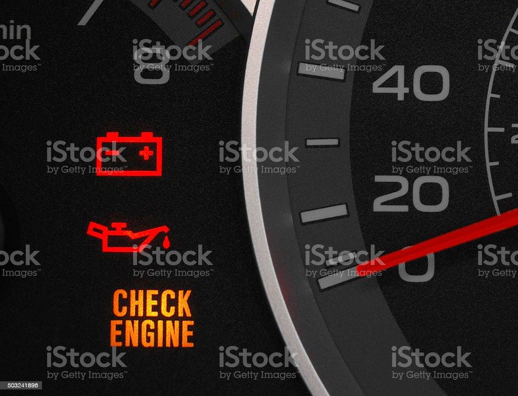 Motor engine warning light. stock photo
