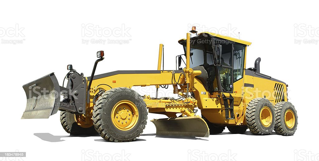Motor grader construction machine stock photo