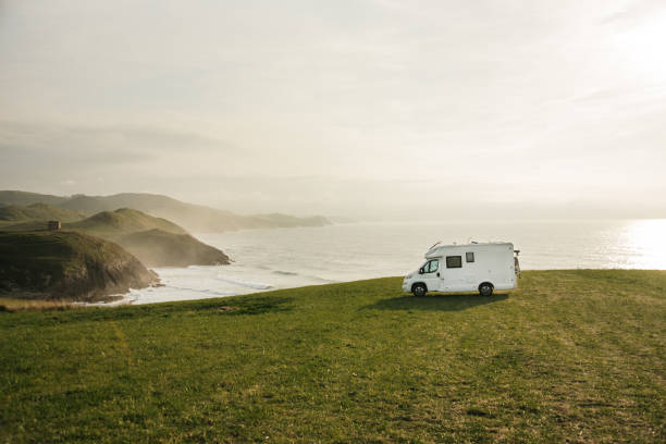 Motor Home by the sea stock photo