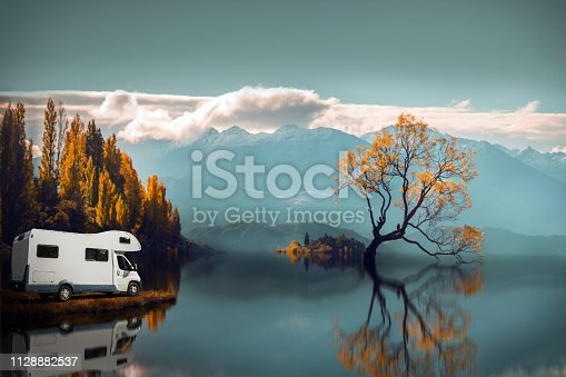 Motor Home or Campervan or Home car on Lone tree in Lake wanaka,New Zealand