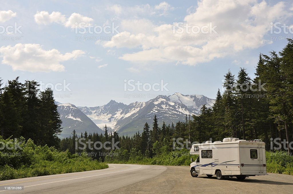 motor home with amazing view stock photo