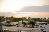 Motor homes in a camping at Florida Keys