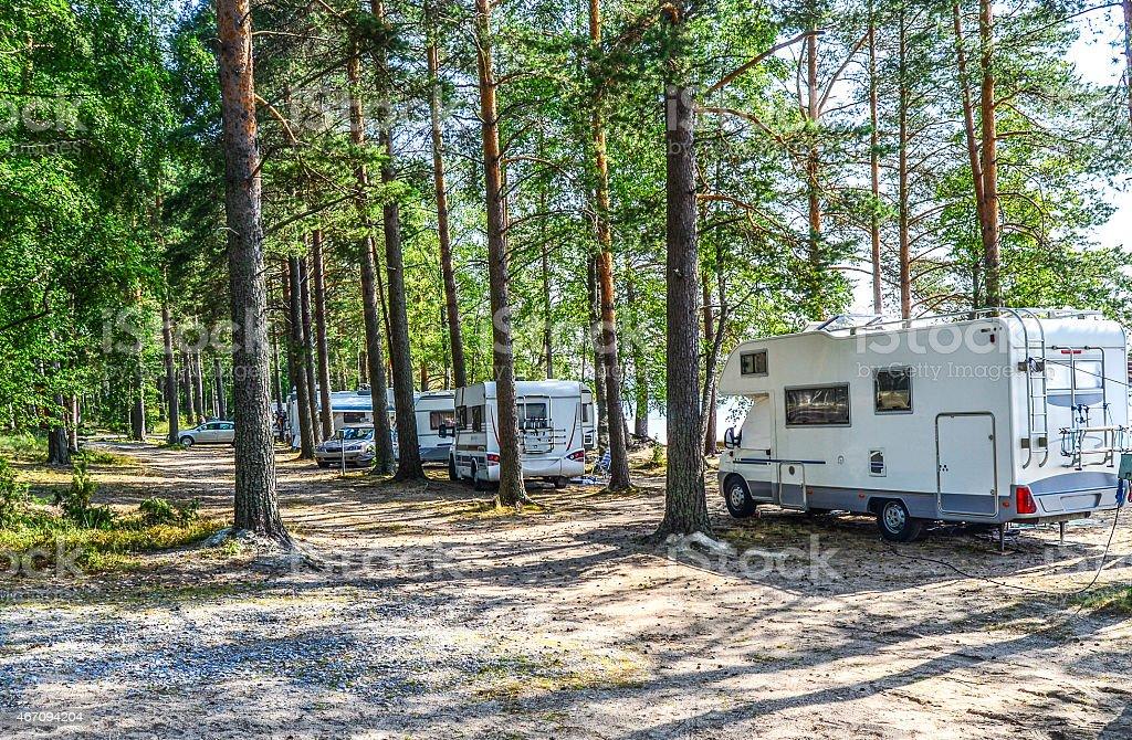 Motor homes in caravan area stock photo