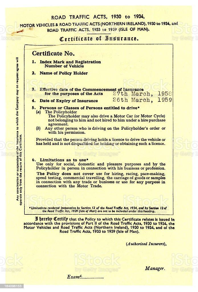 Motor insurance document 1958-59 stock photo