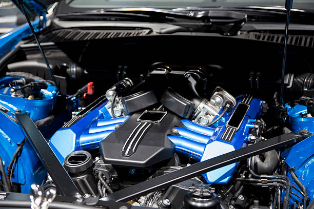 motor of a sport car motor of a sport car bonnet stock pictures, royalty-free photos & images