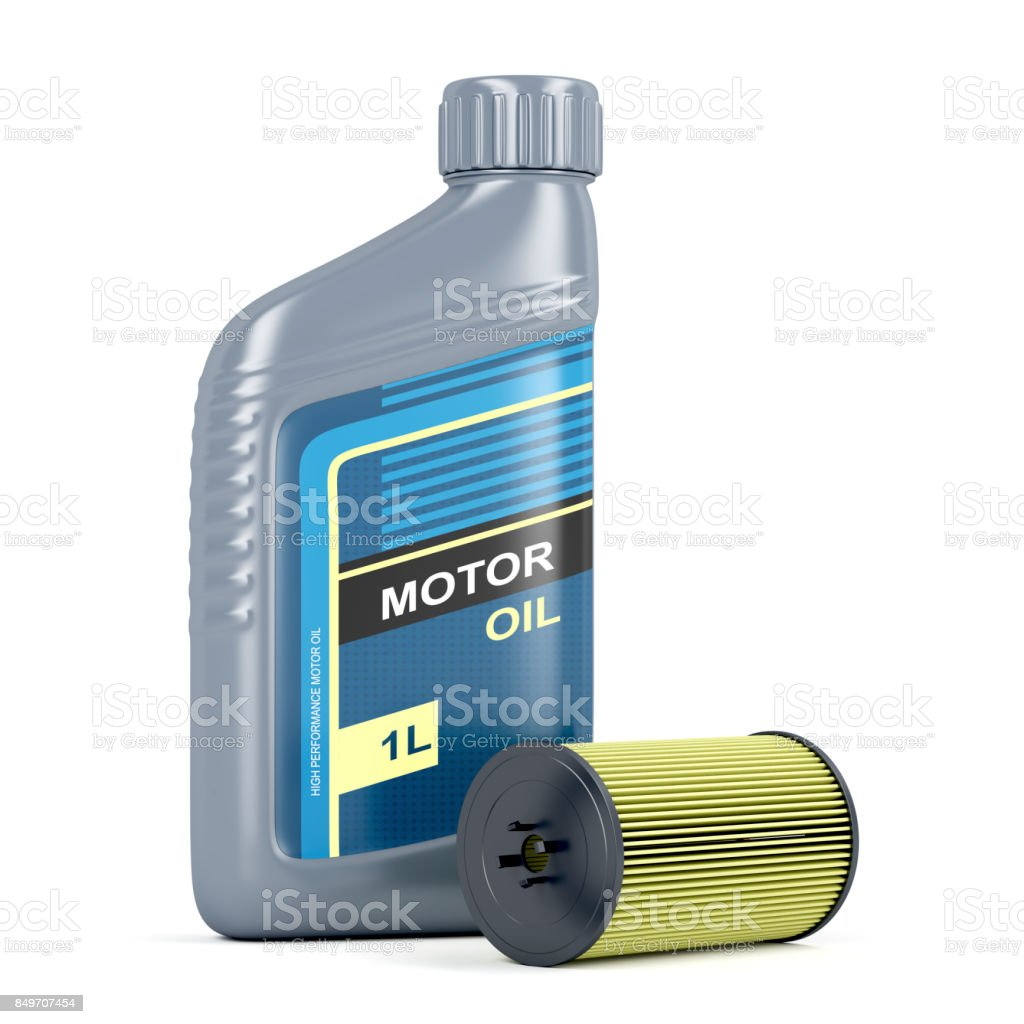 Motor oil and oil filter stock photo