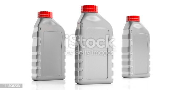 Car engine oil plastic bottles mockup blank no name with red color cap isolated against white background. 3d illustration
