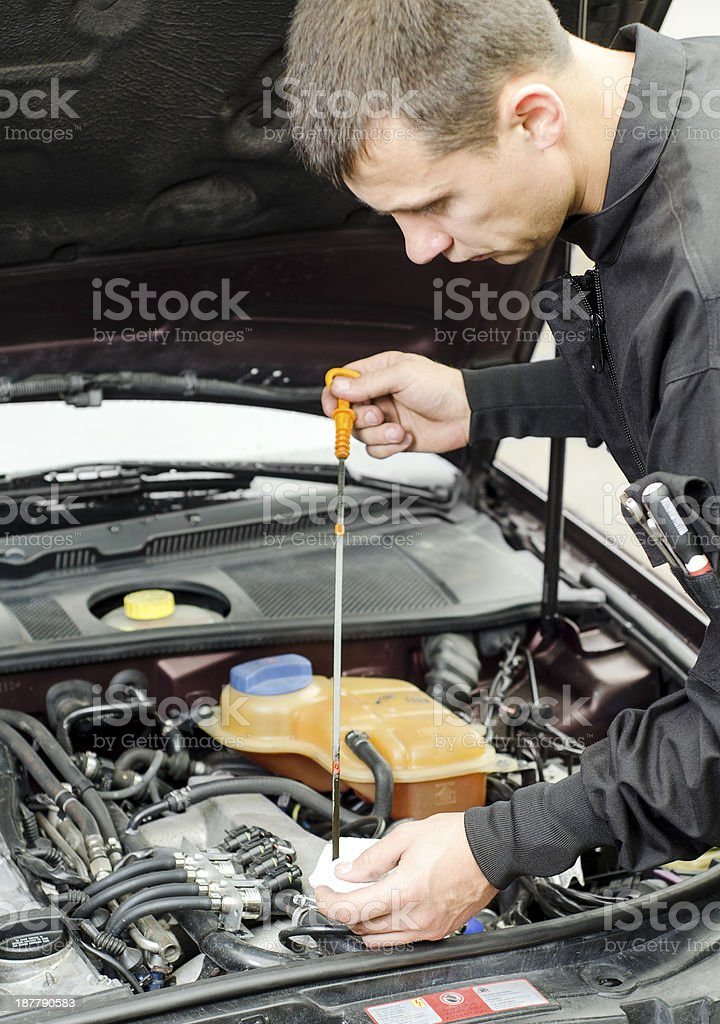 Motor Oil Checking stock photo