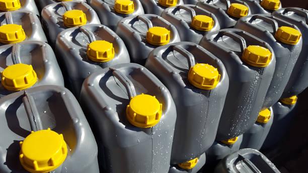 Motor oil in plastic canister stock photo