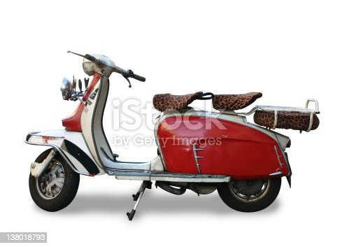 Vintage motor scooter (logo removed), isolated with clipping path.