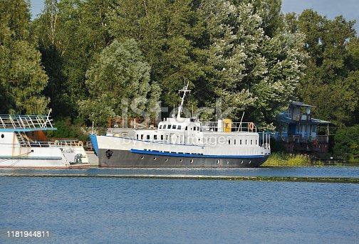 Motor ship at small river harbor in Kiev, Ukraine