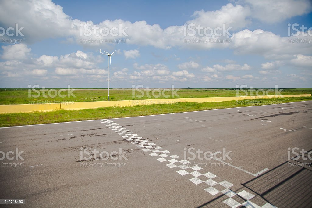 Motor sport finish line stock photo