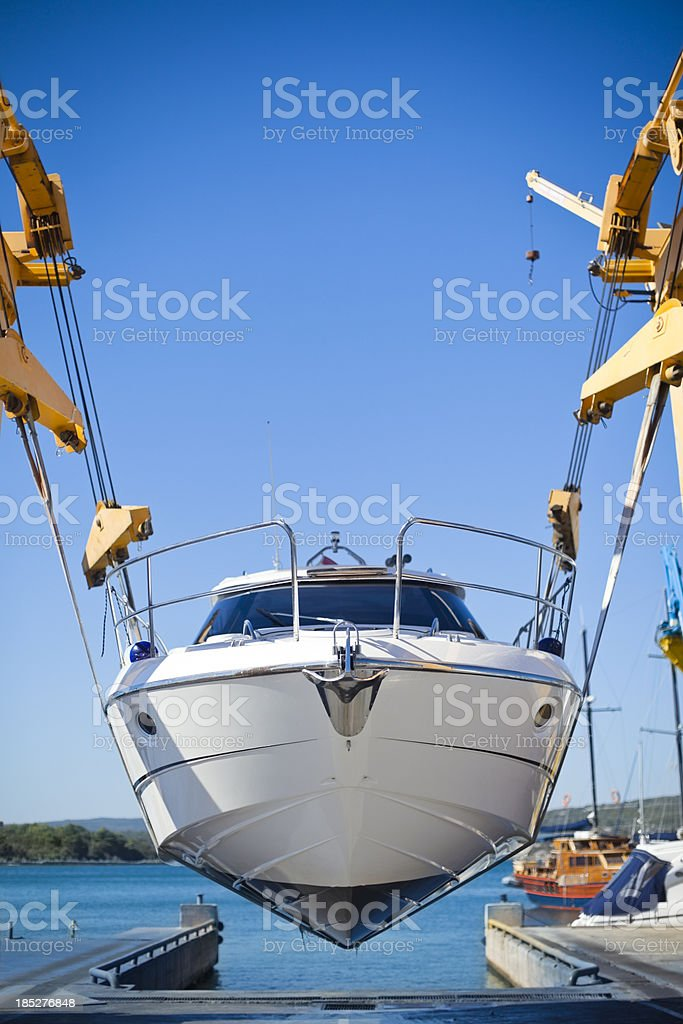 motor yacht launch stock photo