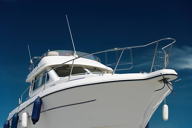 motor yacht - yacht front view stock photos and pictures