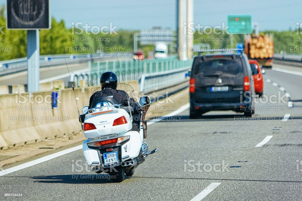 Motorbike and cars in road in Czech republic in Europe royalty-free stock photo
