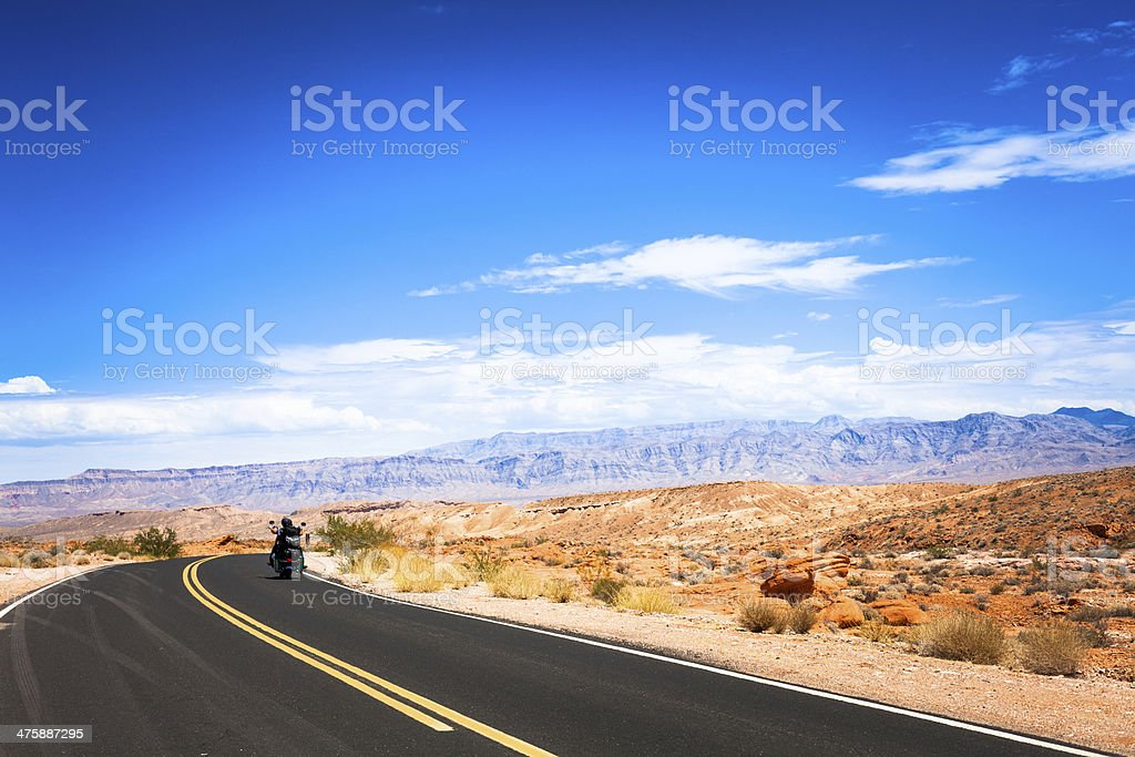 Motorbike Crossing the Death Valley, California royalty-free stock photo