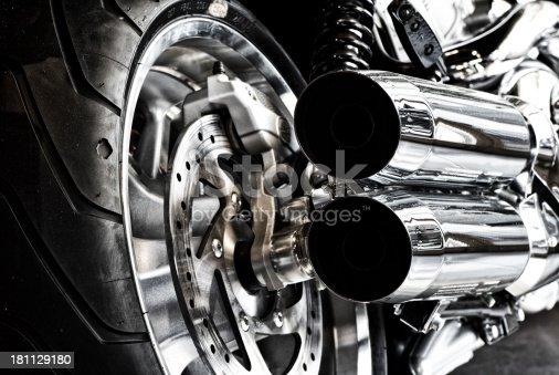 Custom motorbike exhaust closeup, bleached version